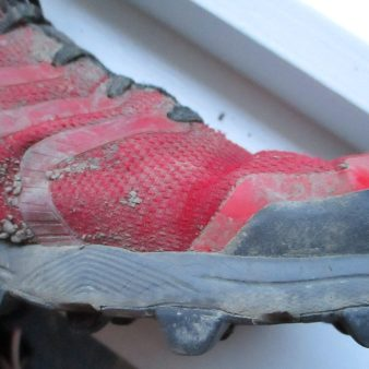 Toe to forefoot, a common failure point on previous version of Inov8s but seem to have come up with a good solution on this model